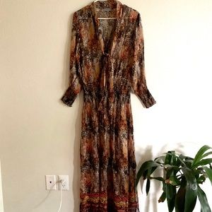 ANTHROPOLOGIE Eco Long sleeve detailed maxi
